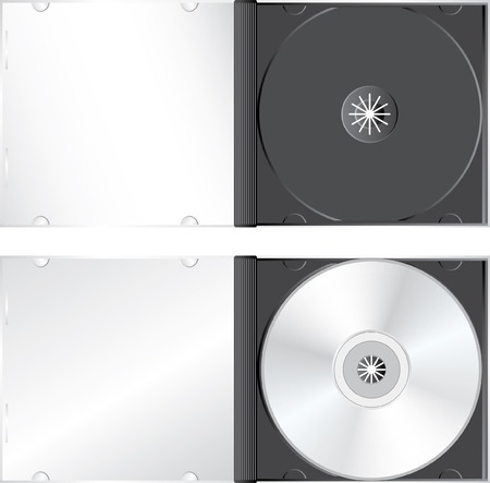 cdr:  realistic pictures of the blank CD or DVD case Illustration
