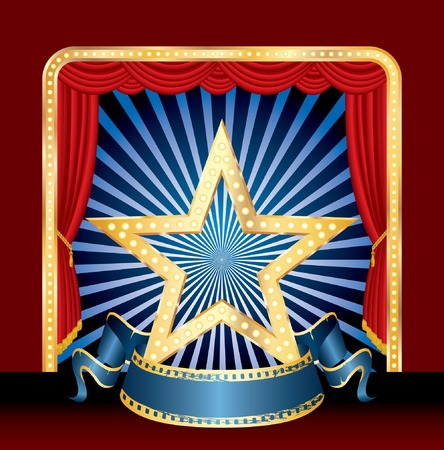 golden star with blue rays on stage Vector