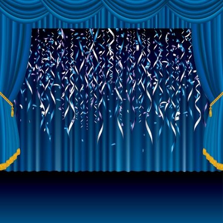 theatrical performance:   blue falling confetti on the blue stage Illustration