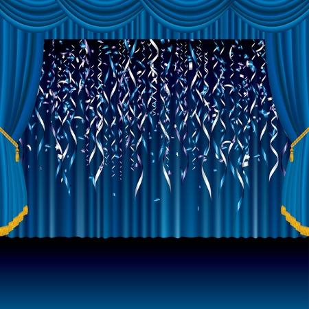 blue velvet:   blue falling confetti on the blue stage Illustration