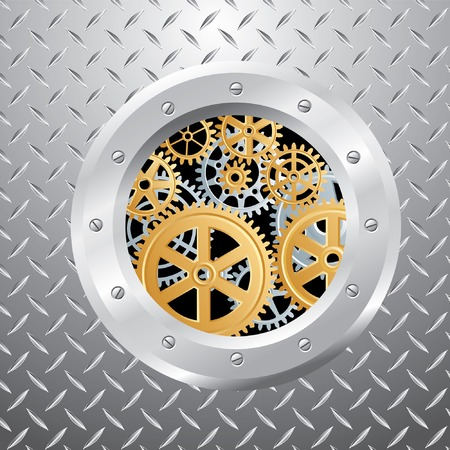 abstract vector composition with silver and golden gears Stock Vector - 8781207