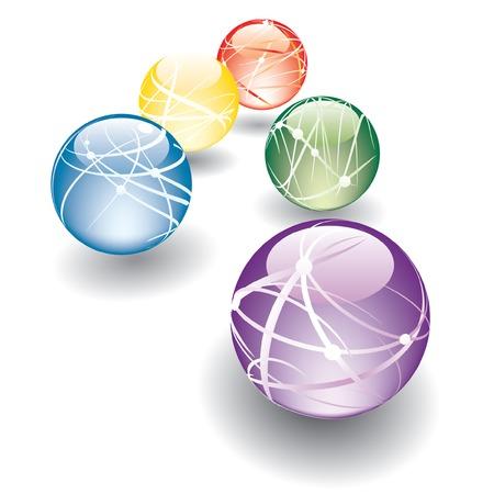 water molecule: cinco bolas abstractas en la perspectiva de vectores