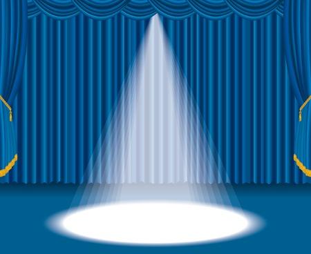 luz focal: Estadio azul con un gran foco de vectores
