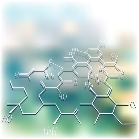 biologia molecular: Vector mackground abstracto con estructura qu�mica