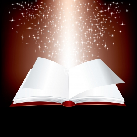 holy book: open red book with stars inside Illustration