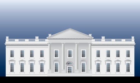 white house: detailed vector drawing of the White house facade
