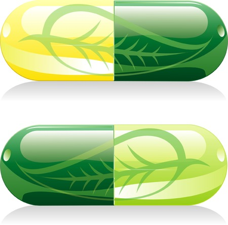 two vector natural pills with leaf Vector