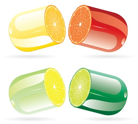 vector symbolic illustration with pills with citrus fruits Stock Vector - 8917965