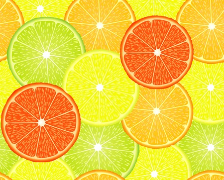 seamless repeating design with citrus fruits Vector