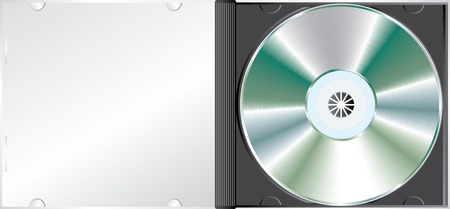 cdr: vector blank CD or DVD disc in the box Illustration