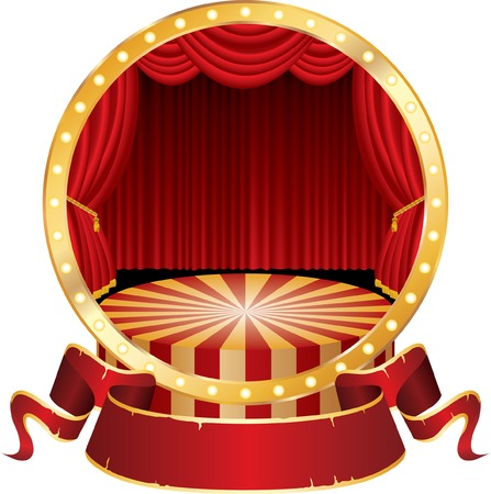 stage: vector circle circus stage with red curtain and blank banner Illustration