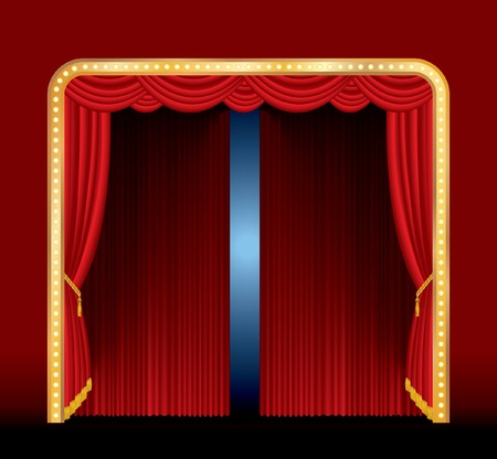 vector stage with red curtain and frame with bulb lamps Vector