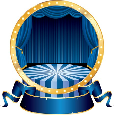 comedy: vector circle circus stage with blue curtain and blank banner