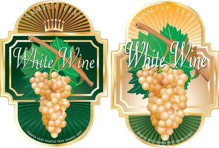 viticulture: vector labels for white wine