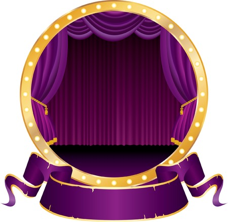 velvet: vector circle circus stage with purple curtain and blank banner