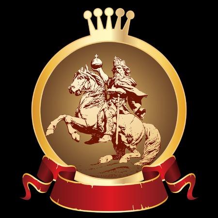 caballo bebe: Vector cosecha etiquetas con rey en semental para diversos productos como bebidas, alimentos, etc..