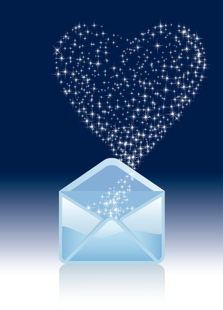 vector opened magic mail with stars like heart