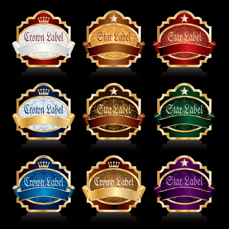 nine vector labels for various products like food, beverages, cosmetics etc. Vector