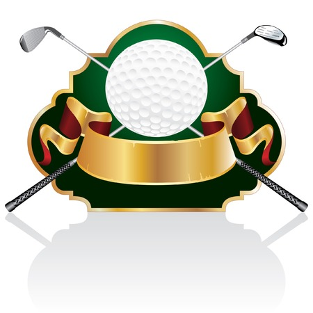 vector blank golf golden award with ball and clubs Vector