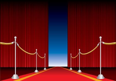 rideau sc�ne: Rideau de sc�ne de vecteur a ouvert avec tapis rouge