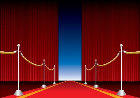 b�hnenvorhang: Vector er�ffnet B�hne Vorhang mit roten Teppich Illustration