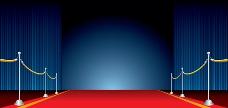 terciopelo azul: Vector escenario abierto con cortina azul y alfombra roja