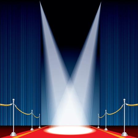 terciopelo azul: Vector abri� la etapa con cortina azul y dos focos