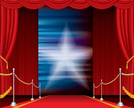 terciopelo azul: etapa de vector abri� con cortina Roja y estrella borrosa