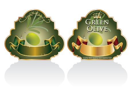the etiquette: vector vintage designed labels for olive products Illustration