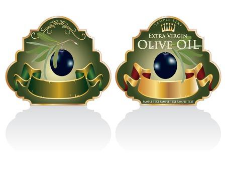 aceite de oliva virgen extra: cosecha de vector dise�ado etiquetas de los productos ole�colas