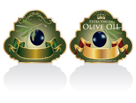 extra: vector vintage designed labels for olive products Illustration