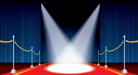 rideau sc�ne: sc�ne ouverte avec tapis rouge et projecteurs de vecteurs