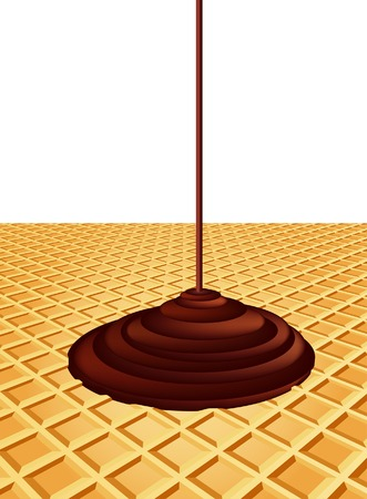 vector background with dripping chocolate on wafer Stock Vector - 9082919