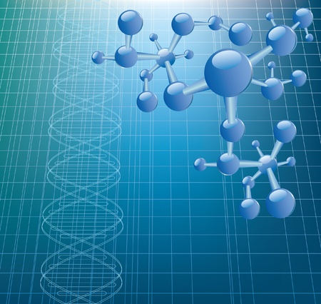 vector background with abstract DNA graph and molecule model Vector