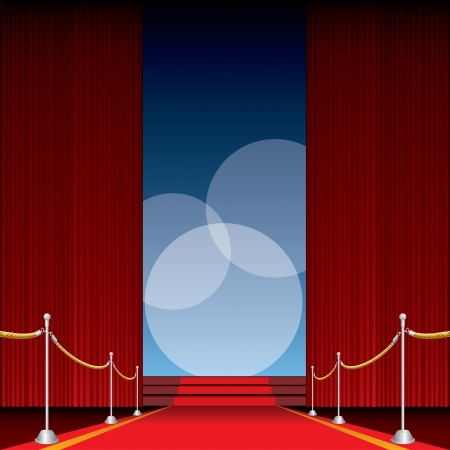 red curtain: vector opened stage with red curtain and three spotlights Illustration
