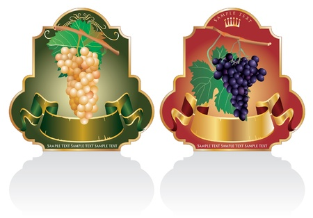 winery: two vector labels for white and red wine