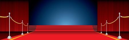 rideau sc�ne: stade de vecteur ouvert avec tapis rouge et cl�ture Illustration