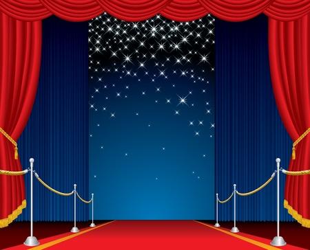 terciopelo azul: escenario abierto con alfombra roja y falling estrellas de vectores