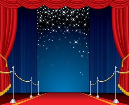 vector opened stage with red carpet and falling stars Vector