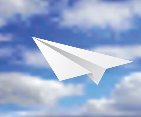view from the plane: ilustraci�n vectorial del avi�n de papel en el cielo nublado