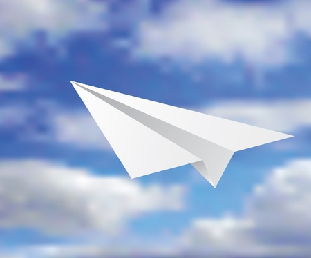off white: vector illustration of the paper plane on the cloudy sky