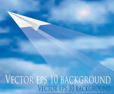 avi�n juguete: ilustraci�n vectorial del vuelo avi�n de papel