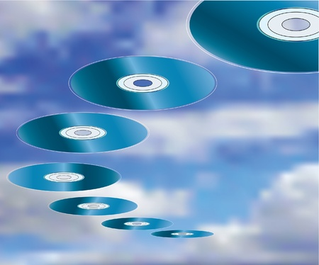 vector illustration of the invasion of the compact discs Stock Vector - 9187851
