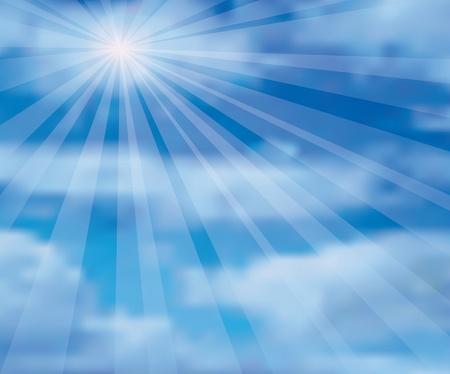 rayos uv: ilustraci�n vectorial del cielo con sol y cluds Vectores