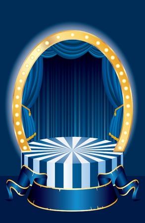 ovalo: Vector fase pequeño circo oval con cortina azul y banner en blanco