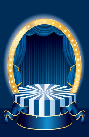 vector small oval circus stage with blue curtain and blank banner Ilustração