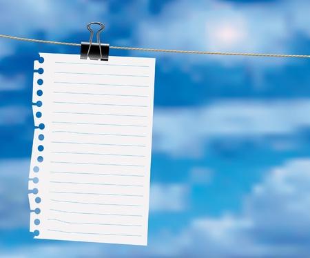 arkusz papieru na linii ubrań z chmur Ilustracje wektorowe