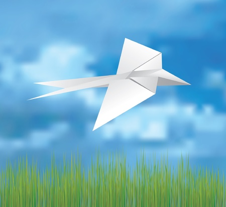 view from the plane: vector illustration of the origami bird on the sky