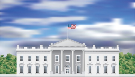 first house: detailed vector drawing of the White house facade