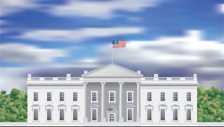 white window: dibujo de la fachada de la Casa Blanca vectorial detallado